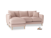 Large left hand Squishmeister Chaise Sofa in Dried Plaster Clever Velvet