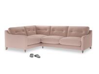Large Left Hand Slim Jim Corner Sofa in Dried Plaster Clever Velvet