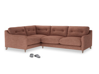 Large Left Hand Slim Jim Corner Sofa in Dried Rose Clever Laundered Linen