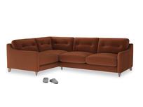 Large Left Hand Slim Jim Corner Sofa in Praline Plush Velvet