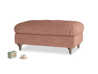 Rectangle Jammy Dodger Footstool in Dried Rose Clever Laundered Linen