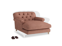 Truffle Love seat in Dried Rose Clever Laundered Linen