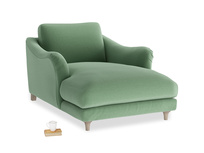 Bumpster Love Seat Chaise in Thyme Green Vintage Linen