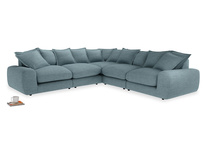 Even Sided Wodge Modular Corner Sofa in Soft Blue Clever Laundered Linen
