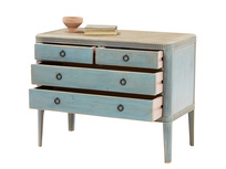 Rummage wooden chest of bedroom drawers in