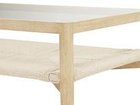 Keepsake wooden and rattan coffee table - shelf detail