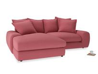 Medium Left Hand Wodge Modular Chaise Sofa in Raspberry brushed cotton
