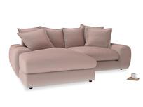Medium Left Hand Wodge Modular Chaise Sofa in Rose quartz Clever Deep Velvet
