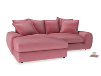 Medium Left Hand Wodge Modular Chaise Sofa in Blushed pink vintage velvet