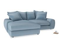 Medium Left Hand Wodge Modular Chaise Sofa in Chalky blue vintage velvet