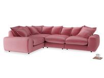 Large left hand Wodge Modular Corner Sofa in Blushed pink vintage velvet
