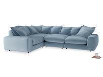Large left hand Wodge Modular Corner Sofa in Chalky blue vintage velvet