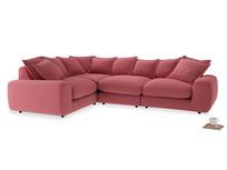 Large left hand Wodge Modular Corner Sofa in Raspberry brushed cotton