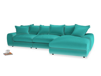 Large right hand  Wodge Modular Chaise Sofa in Fiji Clever Velvet