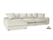 Large left hand Wodge Modular Chaise Sofa in Alabaster Bamboo Softie