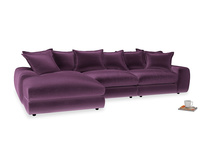 Large left hand Wodge Modular Chaise Sofa in Grape clever velvet