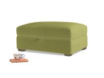 Bumper Storage Footstool in Light Olive Plush Velvet