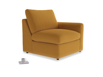 Chatnap Storage Single Seat in Burnished Yellow Clever Velvet with a right arm