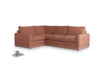 Large left hand Chatnap modular corner storage sofa in Pinky Peanut Plush Velvet with both arms