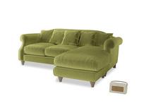 Large right hand Sloucher Chaise Sofa in Light Olive Plush Velvet