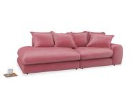 Left Hand Wodge Modular Chaise Longue in Blushed pink vintage velvet