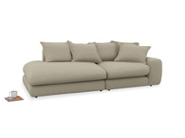 Left Hand Wodge Modular Chaise Longue in Jute vintage linen