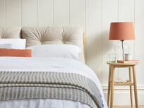 Noggin Scandi bed with cushion headboard
