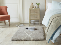 Casbah handmade woven bedside rug in Ash Grey