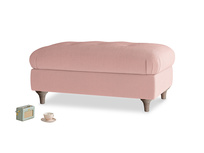 Rectangle Jammy Dodger Footstool in Vintage Pink Clever Velvet