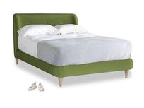 Double Puffball Bed in Olive Vintage Velvet