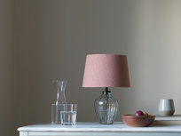 Mini Flute table lamp with a Dusty Pink vintage linen shade