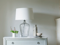 Large Flute table lamp with a Natural Hessian shade