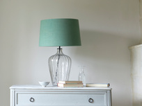 Large Flute table lamp with a Thyme Green vintage linen shade