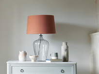 Large Flute table lamp with a Burnt Umber vintage linen shade