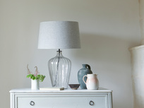 Large Flute table lamp with a Pebble vintage linen shade