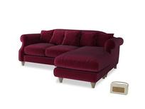 Large right hand Sloucher Chaise Sofa in Merlot Clever Deep Velvet