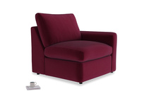 Chatnap Storage Single Seat in Merlot Clever Deep Velvet with a right arm