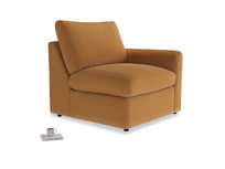 Chatnap Storage Single Seat in Caramel Clever Deep Velvet with a right arm
