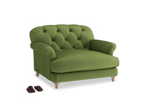 Truffle Love seat in Olive Vintage Velvet