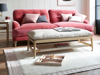 Slingshot coffee table and footstool