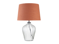 Small Flute Table Lamp with a Burnt Umber Vintage Linen Shade
