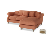 Large right hand Sloucher Chaise Sofa in Burnt Umber Vintage Linen