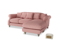 Large right hand Sloucher Chaise Sofa in Dusty Pink Vintage Linen
