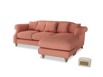Large right hand Sloucher Chaise Sofa in Tawny Pink Brushed Cotton