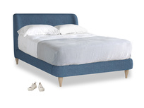 Double Puffball Bed in Inky Blue Vintage Linen