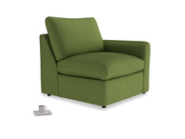 Chatnap Storage Single Seat in Olive Vintage Velvet with a right arm
