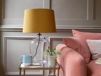 Medium Flagon table lamp with an Burnt Ochre vintage linen shade flagon 5461 web crop