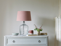 Medium Flute table lamp with a Dusty Pink vintage linen shade