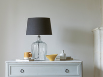Medium Flute table lamp with a Faded Noir vintage linen shade