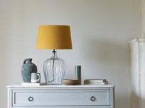 Medium Flute table lamp with a Burnt Ochre vintage linen shade